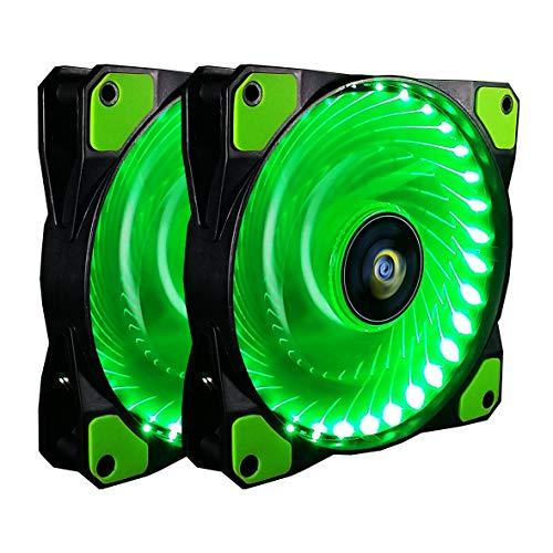 Ventilador de PC,CONISY 120 mm LED Gaming Ultra Silencioso Ventiladores para Caja de Ordenador (Verde,Doble)