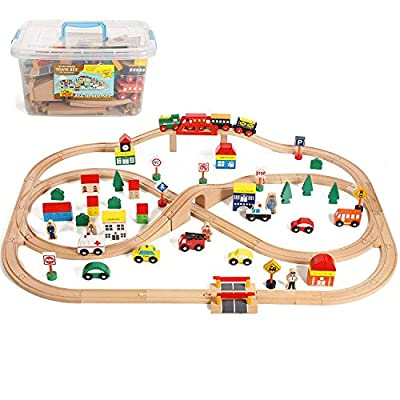 On Track USA Wooden Train Set 100 Piece All in One Wooden Toy Train Tracks Set with Magnetic Trains and Railway Accessories, Comes in A Clear Container, Compatible with All Major Brands by On Track USA