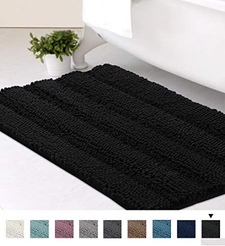 Bath Mats for Bathroom Non Slip Luxury Chenille Striped Bath Rugs 20x32 Absorbent Non Skid Fluffy Soft Shaggy Rugs Washable Dry Fast Plush Area Carpet Mats for Indoor, Bath Room, Tub - Jet Black
