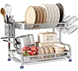 304 Stainless Steel Dish Drying Rack, Romision 2 Tier Large Dish Rack and Drainboard Set with Utensil Holder, Cup Holder and Dish Drainer for Kitchen Counter(Silver)