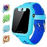 MeritSoar Tech GPS Niños Smartwatch Phone - Tracker Watch Relojes para Niños con Contador de Pasos Geo Fence Cámara SOS Linterna Chat de Voz Juego para 3-12 Niños Compatible con iOS/Android (V6 Azul)