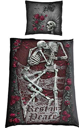 Spiral Rest In Peace Unisex Bettwäsche Mehrfarbig 100% Polyester 135 x 200 cm/80 x 80 cm Gothic, Horror