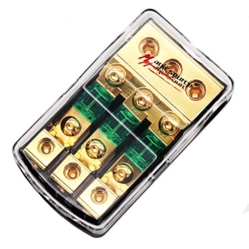 Magicsource Mini ANL Fuse Holder 0/2/4 Gauge in 3-Way 4/8 Gauge Out Copper Wiring Module with 60A Mini Fuses for Car Audio Splitter