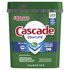 Tougher than baked-on messes No pre-wash needed For best results, use with Cascade Rinse Aid and Dishwasher Cleaner Cascade Complete ActionPacs are easy to use because they require no premeasuring. Dissolves quickly to unleash cleaning power early in...