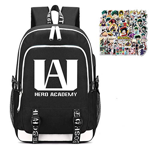 My Hero Academia Printed Backpacks Student School Bag Laptop Backpack with USB Charging Port