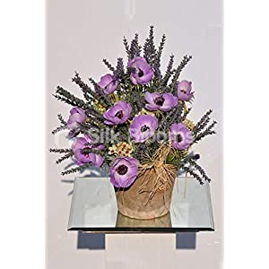 Silk Blooms Ltd Artificial Purple Fresh Touch Anemone and Heather Vase Display w/Ivory Waxflower