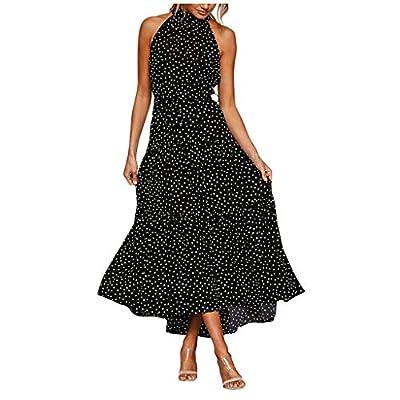 Muranba Womens Dresses Casual Boho Dot Print Bow Tie Sleeveless Halter Ruffle Beach Long Dress