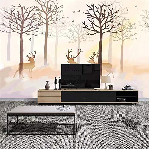 Fondo de TV wall_Nordic wallpaper wood tree elk art bedroom living room TV wallpaper creativo muralWallpaper 3D Wall Mural Paste border Papel Pintado Fotográfico Fotomural-350cm×256cm