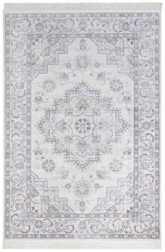 Nouristan Orientalischer Samt-Teppich mit Fransen Antique Heriz NAVEH (160 x 230 cm, 60% Viskose, 40% Baumwolle, Fußbodenheizung geeignet), Pastelfarben Rosa Himmelblau