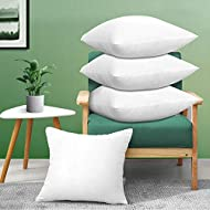 Acanva Square 20x20 Set of 4 | Premium Euro Throw Inserts with Microfiber Filled | Lumbar Support Decorative Pillows Stuffer with Soft Cover for Sofa Bed Couch & Chairs, White 4 Count