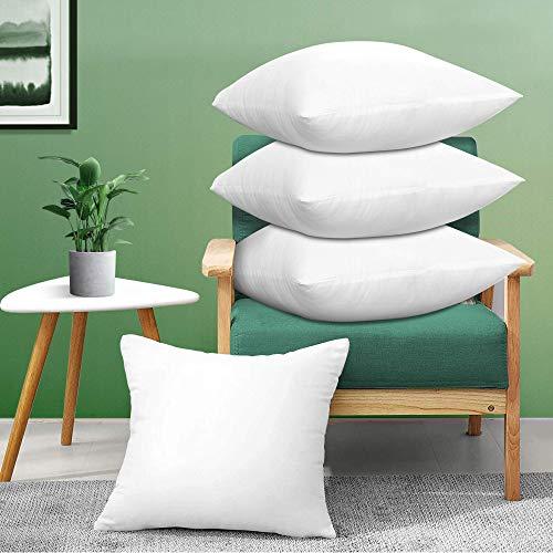 Acanva - Almohada Decorativa Cuadrada, Relleno hipoalergénico, 20 x 20 cm, Color Blanco 4 Unidades