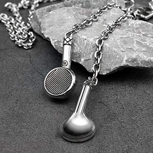 NICEWL Herren Kopfhörer Anhänger Halskette,Rostfreier Stahl Ketten Musik Kopfhörer Anhänger Schmuck,Damen Halsbandschmuck Bekleidung Zubehör