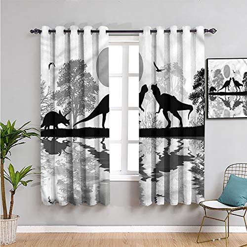 SONGDAYONE dinosaur Blackout Curtain Panels Window, Curtains 63 inch length lake reflection creatures Repeatable use W63 x L63 Inch