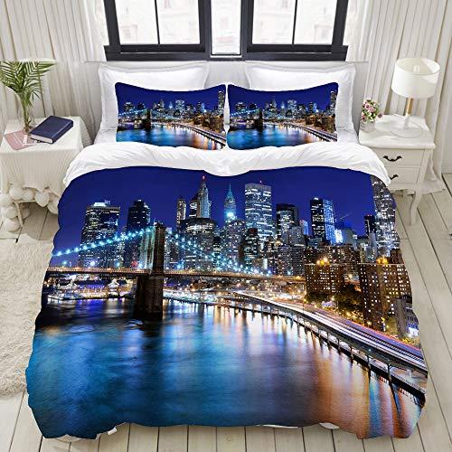 ALLMILL Bedding Juego de Funda de Edredón,Downtown New York Skyline Business District Capital financiera del Mundo,Microfibra Funda de Nórdico y Fundas de Almohada - 140 x 200cm