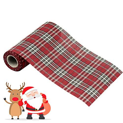 1 Rollo Cinta de Arpillera a Cuadros Navidad para Navidad, Manualidades, Bowknot, Decoración Artesanal - 3m x 15cm