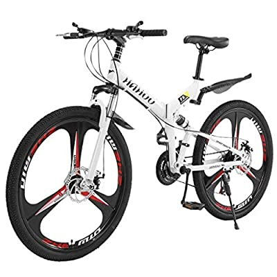 Photno Fat Tire Mountain Bike, 26 inch 3 Spoke Folding Stone Road Bike 21 Speed Bicycle Full Suspension Outdoor Fashion High Carbon Steel MTB Bikes【Shipping from US】 (Black)