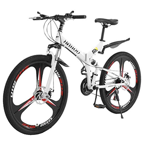 Qijing Adults Folding Mountain Bike, 26 Inch Mountain Bike with 21 Speed Dual Disc Brakes Full Suspension Non-Slip Bicycle, Fast-Speed Bike, High Carbon Steel Frame MTB for Outdoor Racing Cycling (A)