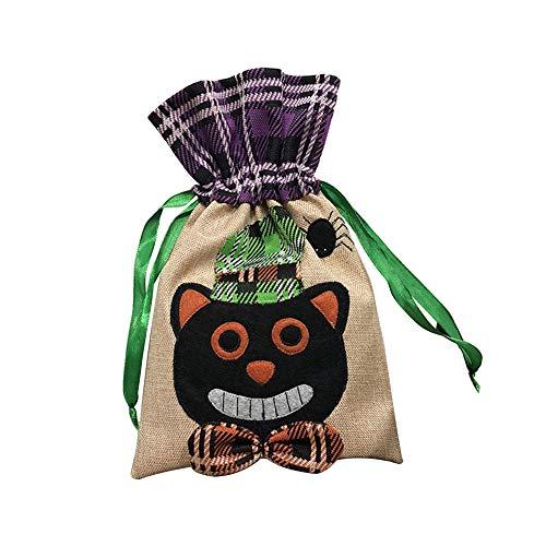 Chytaii Sac à Bonbons Halloween Sac à Cordon Sachet Poche Rangement Cadeaux Chocolat Biscuits pour Enfants Trick Or Treat Bonbonnière Mignonne Jute Accessoire Déguisement Costume (Noir Chat)