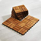 Wood Interlocking Flooring Tiles (Pack of 10, 12' x 12'), Totally 10 Ft2, Solid Wood Acacia Deck Tiles Interlocking, Patio Tiles Outdoor Interlocking Waterproof All Weather(12 Slat, Natural Color)