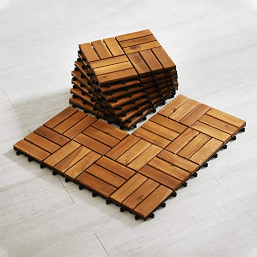Wood Interlocking Flooring Tiles (Pack of 10, 12' x 12'), Totally 10 Ft2, Solid Wood Acacia Deck Tiles Interlocking Outdoor, Patio Tiles Outdoor Interlocking Waterproof All Weather