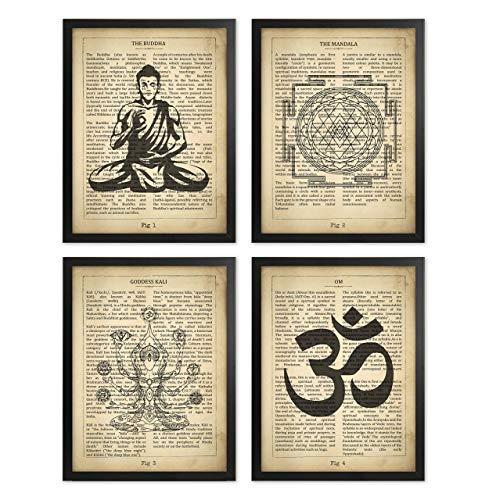 Yoga Definition Poster Set of 4 Buddha Wall Decor Meditation Print Art Om Symbol Yoga Studio Mandala Art Goddess Kali Seated Buddha Room Decor Zen Artworks Yoga Gifts