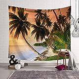 Chambre À Coucher Nordique Décoration Tissu Tapisserie Couverture Murale Bâche De Fond Cocotier Plage Mer Hyococ (Color : A, Size : 203x150)
