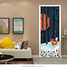 ksjdjok Etiqueta de la Puerta 3D Anime Fox Forest Snow Night Door Pegatinas Autoadhesivas PVC Dormitorio Wallpapers 3D Decoración para El Hogar Puerta Mural DIY Renovar Calcomanía