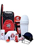 CW Junior Sport Bat Cricket Kit Red Size # 4 Without Ideal For 7 - 8 Years Boy With Cricket Helmet, Arm Guard, Thigh Guard Shoulder Bag, Abdominal Guard, Leg Guard, Batting Gloves,