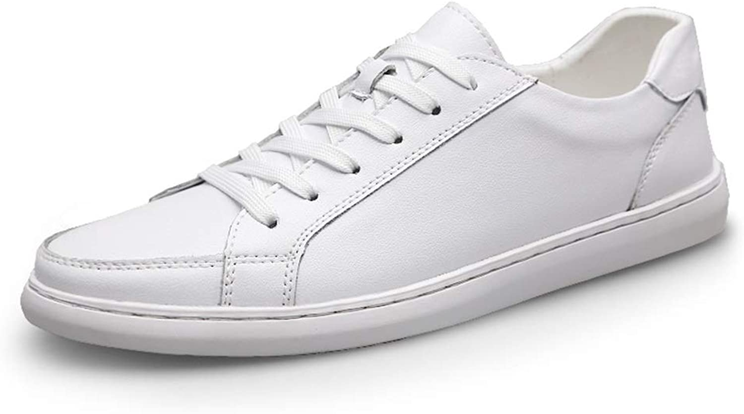 Men's Casual Sports shoes Fashion OX Leather Sports shoes Lace Up Simple with Low Top Athletic shoes for Men Lightweight Walking Sneakers (color   White, Size   10 D(M) US)