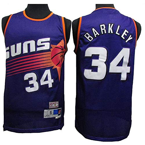 QQA NBA Männer Basketball-Sporthemd Phoenix Suns # 34 Charles Barkley All Star Classic Mesh Jersey Cool Atmungsaktiv Swingman Basketball Weste Top,M