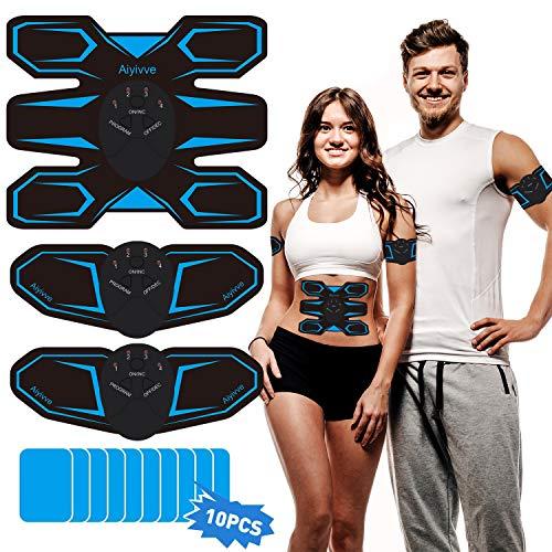 Aiyivve Electroestimulador Muscular Abdominales, Estimulador Muscular EMS Estimulador Muscular para Bdomen/Brazo/Piernas/Glúteos, 6 Modos y 10 Niveles de Intensidad, 10 PCS Reemplazo Gel Pad