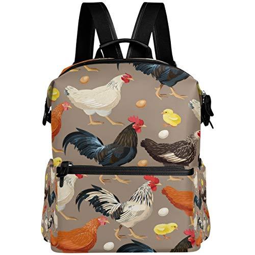 Oarencol - Mochila colorida para gallinas de gallo, huevos de gallina, escuela, libros, viajes, senderismo, camping, portátil, mochila