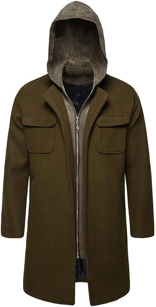 MODOQO Men's Slim Trenchcoat with Zipper Hoodies Long Winter Warm Jacket Outwear