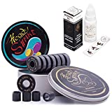 Heady Shake Pro Skateboard Bearings - Fastest Premium 608rs Titanium - Longboard, Skate Board, Kick Scooter, Inline and Roller Skates, 8-Pack (Darkside)