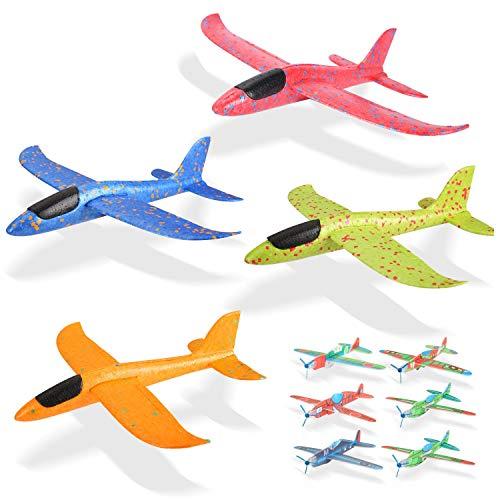Ulikey 4 Pcs Planos de Espuma 35cm, Avión Planeador, Modelo de Avion Deportes al Aire Libre Volar Juguete, Favores de la Fiesta