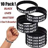 Pizies Black Lives Matter I Can't Breathe Pulseras de silicona inspiradoras pulseras de silicona para hombres, mujeres, niños y niñas, joyería de moda ideal como regalo, Patrón B, 10 unidades