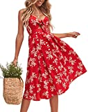 Walant Robes pour Femmes mi-Longue à Bretelles Ete Tie Front Col V Manches Courtes Bouton A-Line Sexy Robe Plage d'été Casual Chic Vintage Floraux, Rouge 1, XL