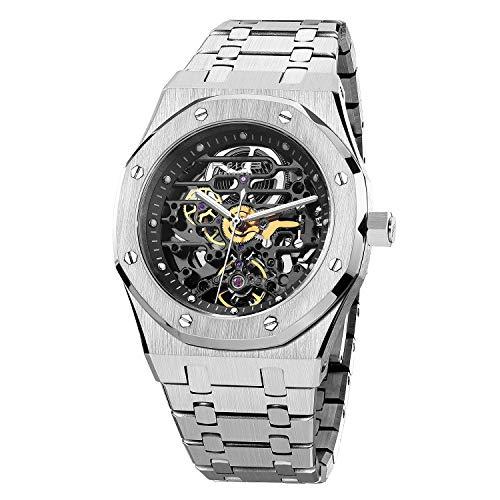 FEICE Reloj Mecánico para Hombre Reloj Mecánico Automático Deportivo Esqueleto Ø42mm FM019HOT