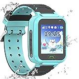 Reloj Inteligente a Prueba de Agua GPS Tracker para niños - Mire el Reloj Inteligente a Prueba de Agua con GPS LBS WiFi Localizador de teléfono con Chat de Voz Juego de cámara (S9-Azul)