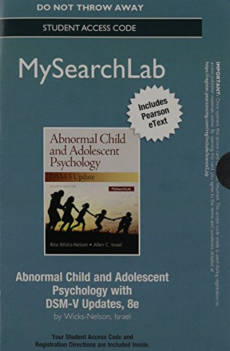 MySearchLab with Pearson eText --  Access Code Card -- for Abnormal Child and Adolescent Psychology with DSM-V Updates (8th Edition)