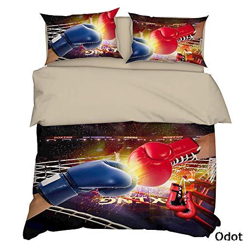 Odot Bedding Set Double Bed Set 3Piece, 3D Sports Program Cover Set King Size Microfiber Zip Easy Care, 1*Duvet Cover, 2*Pillowcases (140 * 200cm,boxing)