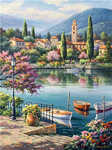 ZDDWLDL Paint by Number Kits,DIY Digital Canvas Oil Painting for Kids Seaside Town Garden Port for Relaxation and Home Wall Decor and Best Gift for Beginners and Children(16x20inch Frameless)