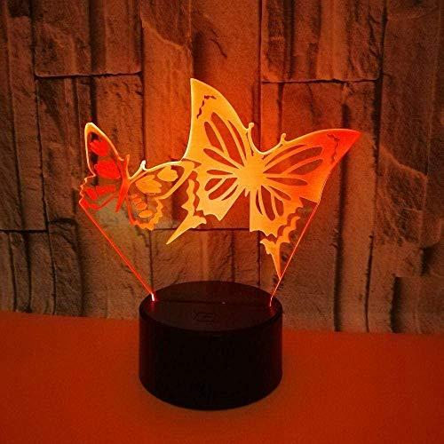 Ilusión 3D Luz nocturna Mariposa visual de regalo Lámpara de mesa decorativa Usb 7 Interruptor de color táctil