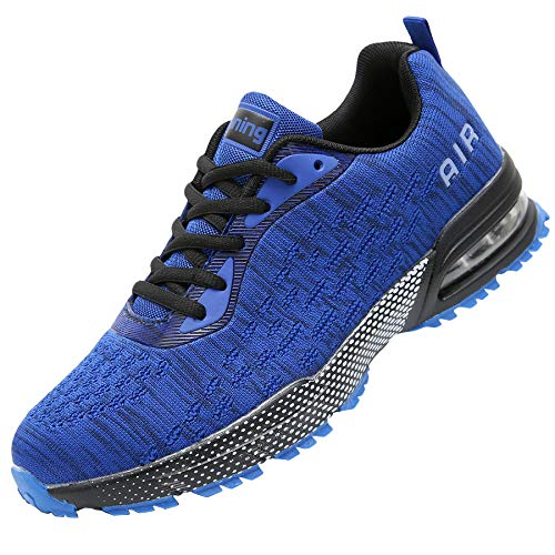 GANNOU Men Air Cushion Running Tennis Shoes Trail Lightweight Breathable Athletic Fitness Fashion Walking Sneakers (9 D(M) US, Blue)