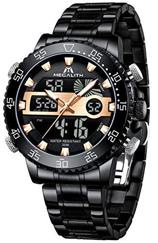 MEGALITH Reloj Digital Hombre Militar Deportivo Relojes Analogicos Digitales Acero Inoxidable Relojes de Pulsera LED Cronometro Esfera Grande Negro Impermeable Calendario