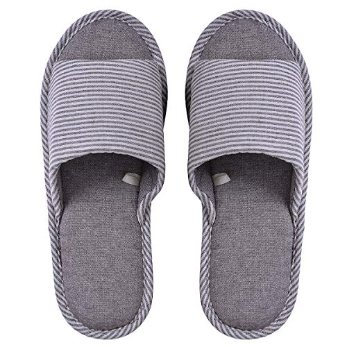 Memorygou Womens/Mens Home Slippers, Cotton and Linen Casual Indoor Outdoor Open-Toe Shoes US 10-11