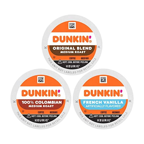 Dunkin' Best Sellers Coffee Variety Pack, 60 Keurig K-Cup Pods 1 Contains 4 boxes of 32 K-Cup pods (128 count total) Original Blend is the coffee that made Dunkin' famous, featuring a rich, smooth taste unmatched by others Medium roast coffee, specially blended and roasted to deliver the same great taste as the brewed Dunkin' coffee available in Dunkin' shops