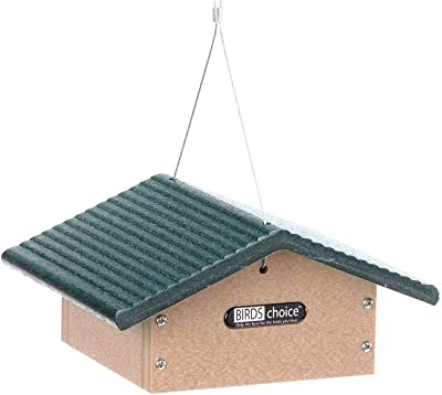 Birds Choice Single Cake Upside Down Suet Feeder with Green Roof