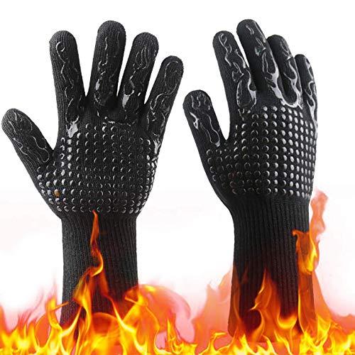 MeiGuiSha Grillhandschuhe Grillhandschuhe Hitzebeständig, Ofenhandschuhe Grill Kochhandschuhe Hitzebeständige bis zu 800 ° C, für BBQ Kochen Backen