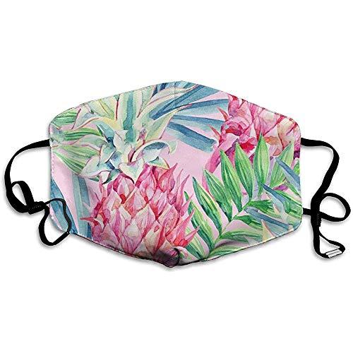 Kleurrijk tropisch bladeren patroon comfortabel ademend masker, universeel ademhalingsmasker voor mannen en vrouwen ter bescherming van het gezicht.